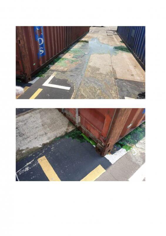 Hàng hóa nước giặt, nước xả vải,nước lau sàn bị rò rỉ tại cảng chuyển tải
