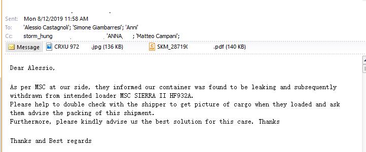 Thông báo từ MSC phát hiện rò rỉ tại cảng chuyển tải