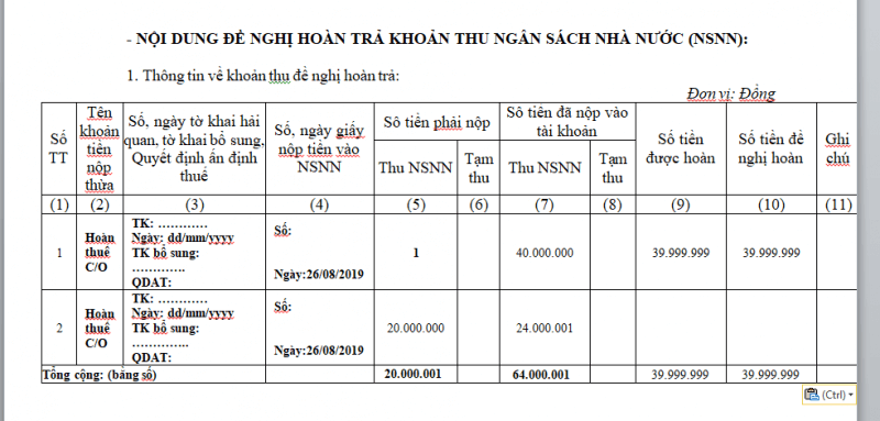 Hướng dẫn diền công văn hoàn thuế nhập khẩu nợ CO form E