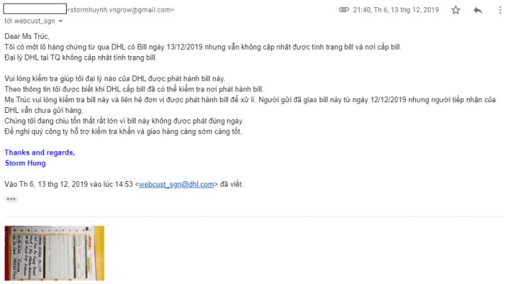 Thất lạc chứng từ xuất nhập khẩu - Email to DHL support