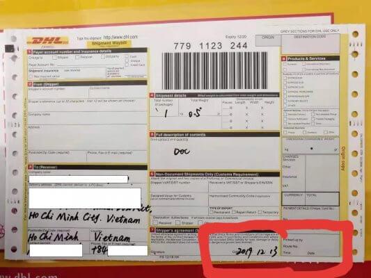 Thất lạc chứng từ xuất nhập khẩu - Fake DHL Airwaybill