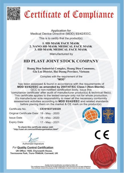 Chứng nhận chất lượng châu Âu để xuất khẩu khẩu trang - CE