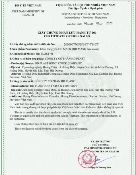 Certificate of free sales - Chứng nhận lưu hành tự do xuất khẩu khẩu trang